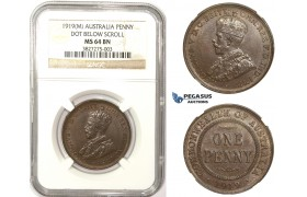 ZM307, Australia, George V, Penny 1919 (M) Melbourne, NGC MS64BN (Dot below scroll)