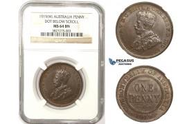 ZM307, Australia, George V, Penny 1919 (M) Melbourne, NGC MS64BN (Dot below scroll)