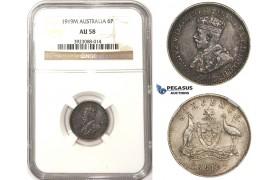 ZM308, Australia, George V, Sixpence (6P) 1919 (M) Melbourne, Silver, NGC AU58