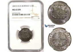 ZM310, British North Borneo, 1/2 Cent 1891-H, Heaton, NGC MS65BN