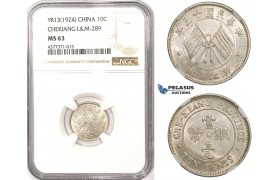 ZM315, China, Chekiang, 10 Cents Yr. 13 (1924) Silver, L&M 289, NGC MS63