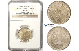ZM317, China, Kwangsi, 20 Cents 1927, Silver, L&M 175, NGC AU58