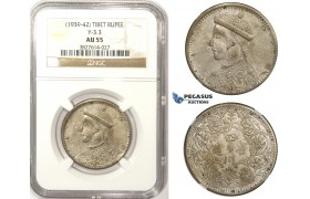 ZM321, China, Tibet, Rupee ND (1939-42) Silver, Y-3.3, NGC AU55