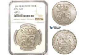 ZM322, Denmark, Christian V, Krone 1684 GS, Silver, Ø38mm, NGC AU53, Extremely Rare!