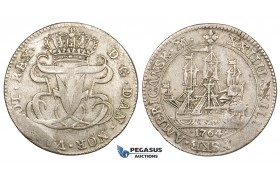 ZM324, Danish West Indies, Frederik V, 24 Skilling 1764, Silver (5.48g) VF