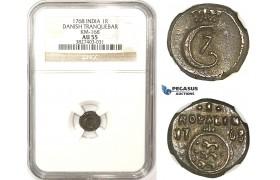 ZM325, India, Tranquebar (Danish Colony) Christian VII, 1 Royalin 1768, Silver, S. 82.1, NGC AU55, Extremely Rare!