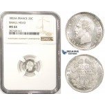ZM327, France, Napoleon III, 20 Centimes 1853-A, Paris, Silver, NGC MS64
