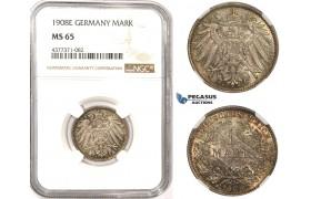 ZM331, Germany, Wilhelm II, 1 Mark 1908-E, Muldenhutten, SIlver, NGC MS65