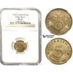 ZM332, Germany, Third Reich, 5 Reichspfennig 1936-G, Karlsruhe, NGC MS65