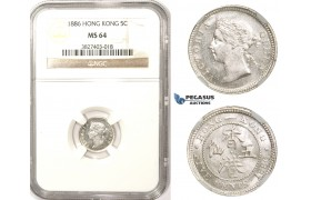 ZM341, Hong Kong, Victoria, 5 Cents 1886, Silver, NGC MS64