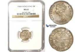 ZM344, Hong Kong, Victoria, 10 Cents 1900-H, Heaton, Silver, NGC MS63