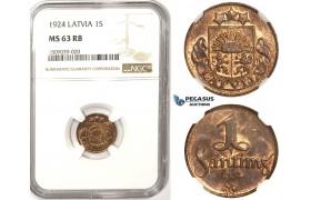 ZM345, Latvia, 1 Santims 1924, NGC MS63RB