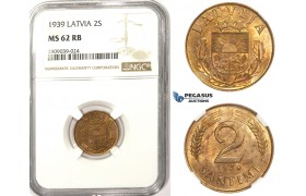 ZM348, Latvia, 2 Santimi 1939, NGC MS62RB