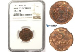 ZM349, Latvia, 5 Santimi 1922, NGC MS61RB