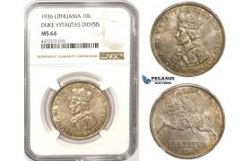 ZM350, Lithuania, 10 Litu 1936, Silver, NGC MS64