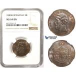 ZM358, Romania, Carol I, 5 Bani 1885-B, Bucharest, NGC MS64BN