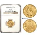 ZM359, Romania, Carol I, 20 Lei 1890-B, Bucharest, Gold, NGC MS63