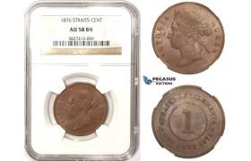 ZM362, Straits Settlements, Victoria, 1 Cent 1876, NGC AU58BN