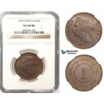 ZM363, Straits Settlements, Victoria, 1 Cent 1897, NGC AU58BN