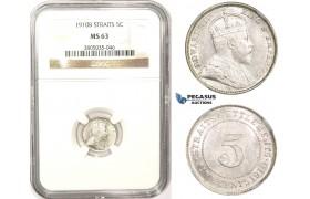 ZM366, Straits Settlements, Edward VII, 5 Cents 1910-B, Bombay, Silver, NGC MS63