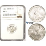 ZM367, Straits Settlements, George V, 5 Cents 1918, Silver, NGC MS65