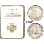 ZM368, Straits Settlements, George V, 10 Cents 1918, Silver, NGC MS63