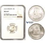 ZM369, Straits Settlements, George V, 10 Cents 1919, Silver, NGC MS64+