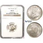 ZM370, Straits Settlements, George V, 10 Cents 1927, Silver, NGC MS65