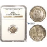 ZM375, Thailand, Rama V, 1/8 Baht ND (1876-1900) Silver, NGC MS64