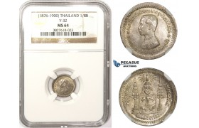 ZM375, Thailand, Rama V, 1/8 Baht ND (1876-1900) Silver, NGC MS64