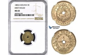 ZM379, Bolivia, 5 Centavos 1883-A, Paris, Holed, NGC MS65