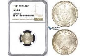 ZM387, Cuba, 10 Centavos 1948, Philadelphia, Silver, NGC MS65