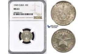 ZM389, Cuba, 10 Centavos 1949, Philadelphia, Silver, NGC MS61