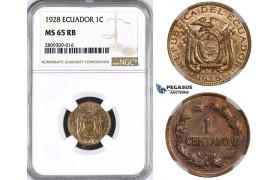 ZM392, Ecuador, 1 Centavo 1928, NGC MS65RB