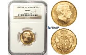 ZM40, Denmark, Christian X, 20 Kroner 1913 VBP, Copenhagen, Gold, NGC MS66