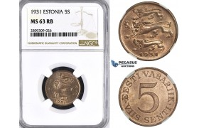 ZM402, Estonia, 5 Senti 1931, NGC MS63RB