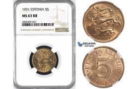 ZM403, Estonia, 5 Senti 1931, NGC MS63RB