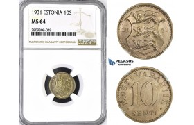 ZM405, Estonia, 10 Senti 1931, NGC MS64