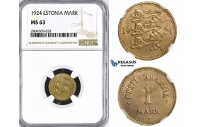 ZM408, Estonia, 1 Mark 1924, NGC MS63