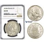 ZM414, France, Louis XVIII, 5 France 1818-B, Rouen, Silver, NGC AU58