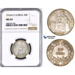 ZM415, French Indo-China, 20 Centimes 1916-A, Paris, Silver, NGC MS63