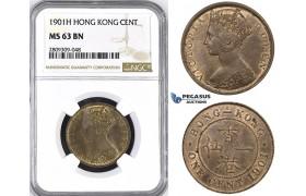 ZM419, Hong Kong, Victoria, 1 Cent 1901-H, Heaton, NGC MS63BN