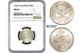 ZM434, Palestine, 50 Mils 1939, London, Silver, NGC MS61