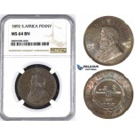 ZM435, South Africa (ZAR) Penny 1892, NGC MS64BN