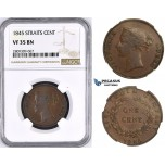 ZM436, Straits Settlements, Victoria, 1 Cent 1845, NGC VF35BN