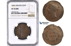 ZM436, Straits Settlements, Victoria, 1 Cent 1845, NGC VF35BN