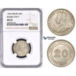 ZM437, Straits Settlements, George V, 20 Cents 1935, Silver, NGC MS63