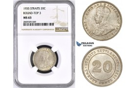 """ZM437, Straits Settlements, George V, 20 Cents 1935, Silver, NGC MS63 """"Round top 3"""""""