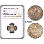 ZM440, Switzerland, 1/2 Franc 1881-B, Bern, Silver, NGC MS65, Rainbow toning