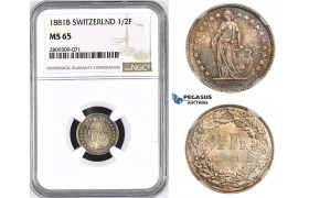 ZM440, Switzerland, 1/2 Franc 1881-B, Bern, Silver, NGC MS65, Rainbow toning
